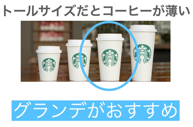 トールサイズだとコーヒーが薄い方はグランデサイズがおすすめ